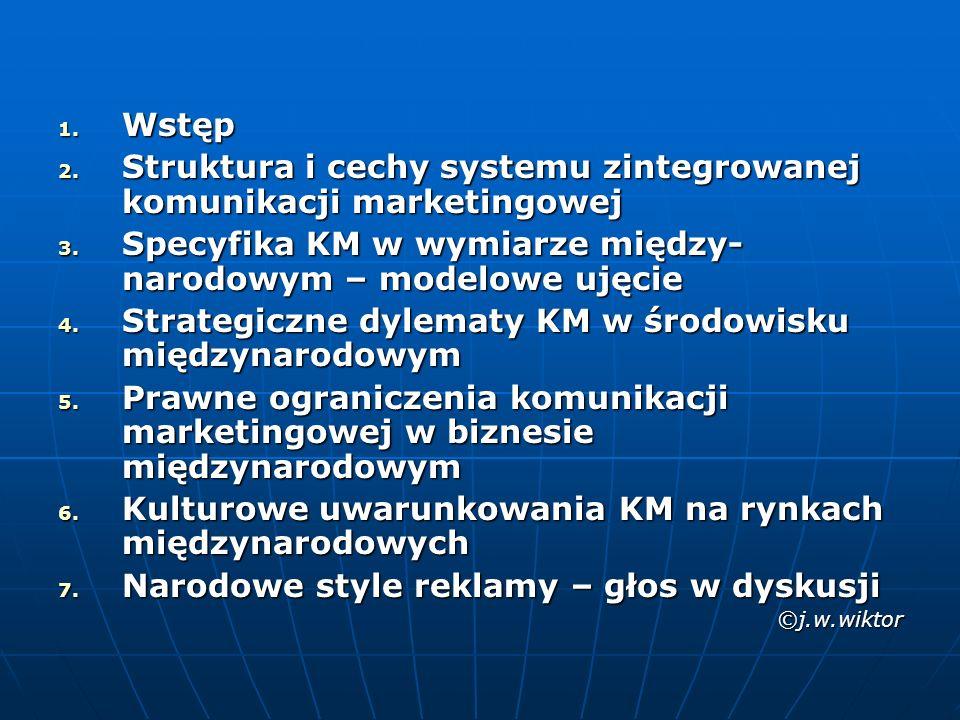 1.Wstęp 2. Struktura i cechy systemu zintegrowanej komunikacji marketingowej 3.