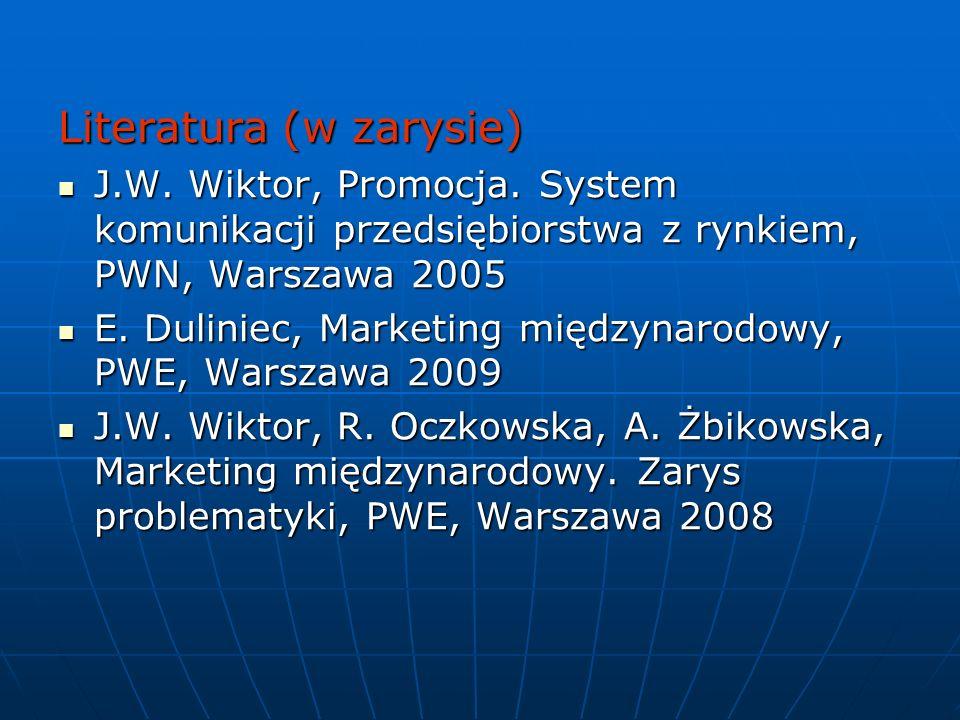Literatura (w zarysie) J.W.Wiktor, Promocja.
