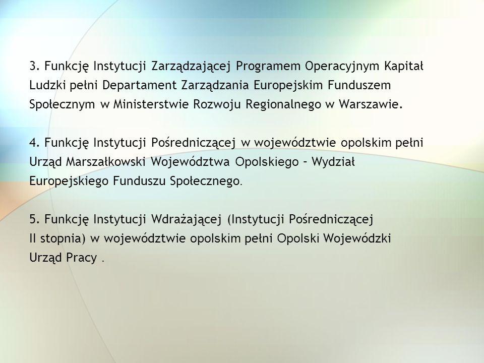 3. Funkcję Instytucji Zarządzającej Programem Operacyjnym Kapitał Ludzki pełni Departament Zarządzania Europejskim Funduszem Społecznym w Ministerstwi