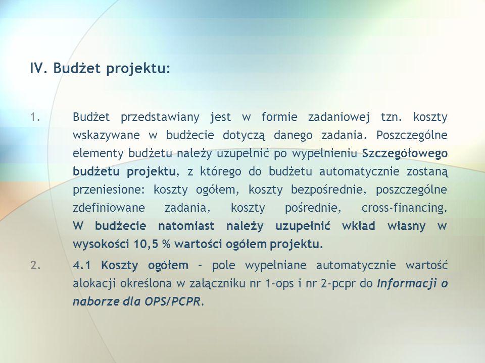 IV. Budżet projektu: 1.Budżet przedstawiany jest w formie zadaniowej tzn. koszty wskazywane w budżecie dotyczą danego zadania. Poszczególne elementy b