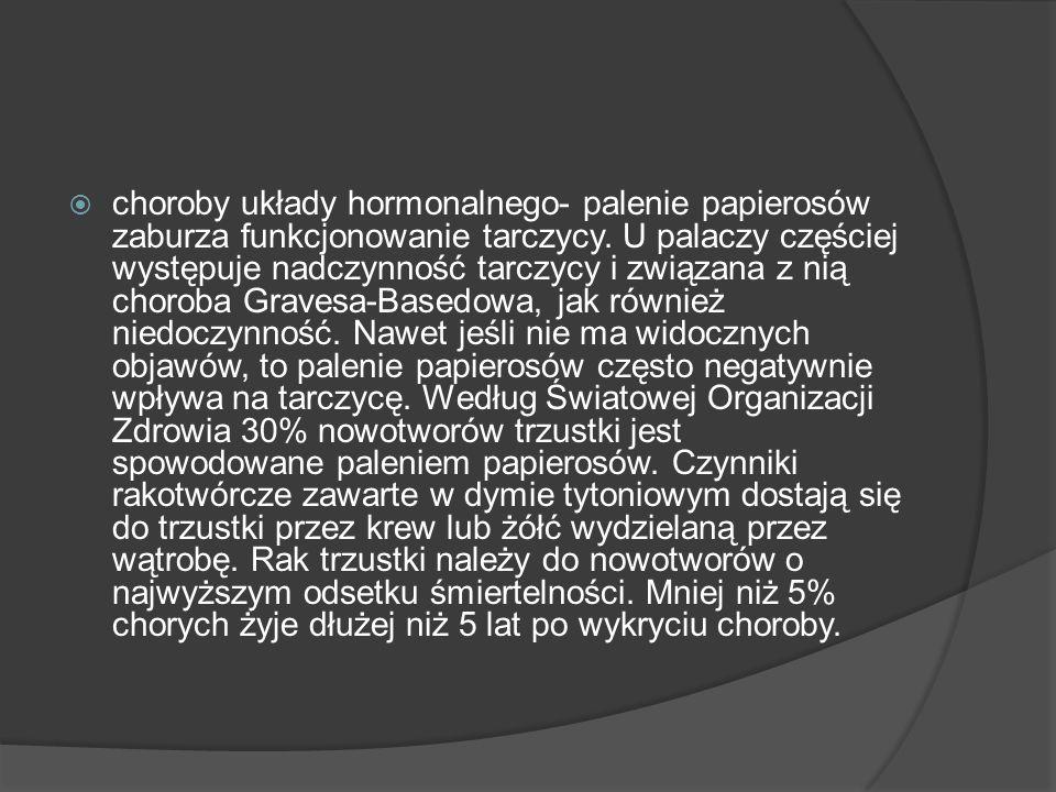 choroby układy hormonalnego- palenie papierosów zaburza funkcjonowanie tarczycy.