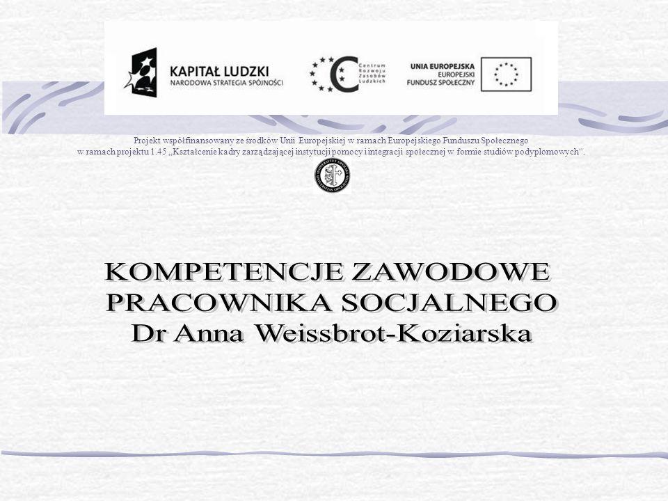 Projekt współfinansowany ze środków Unii Europejskiej w ramach Europejskiego Funduszu Społecznego w ramach projektu 1.45 Kształcenie kadry zarządzającej instytucji pomocy i integracji społecznej w formie studiów podyplomowych.
