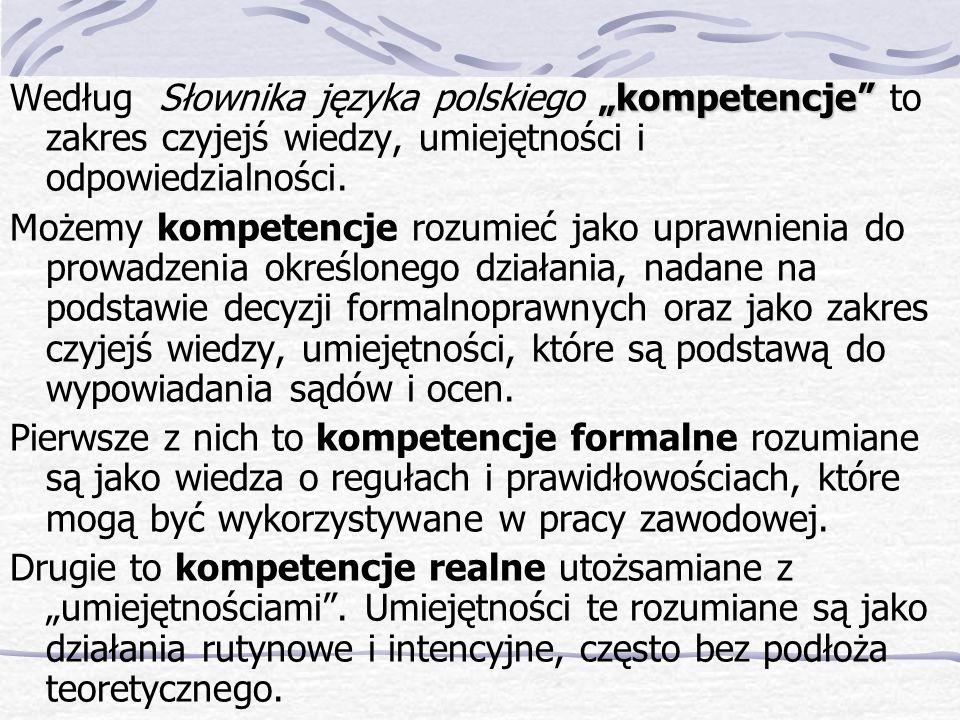 kompetencje Według Słownika języka polskiego kompetencje to zakres czyjejś wiedzy, umiejętności i odpowiedzialności.