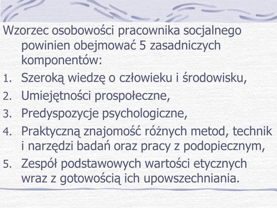 Wzorzec osobowości pracownika socjalnego powinien obejmować 5 zasadniczych komponentów: 1.