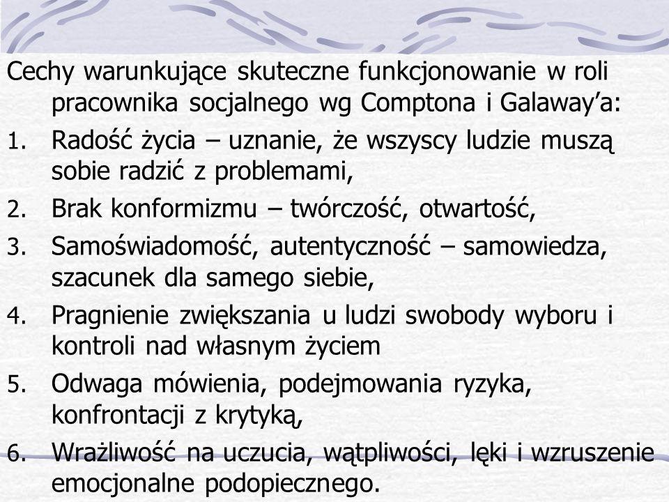 Cechy warunkujące skuteczne funkcjonowanie w roli pracownika socjalnego wg Comptona i Galawaya: 1.