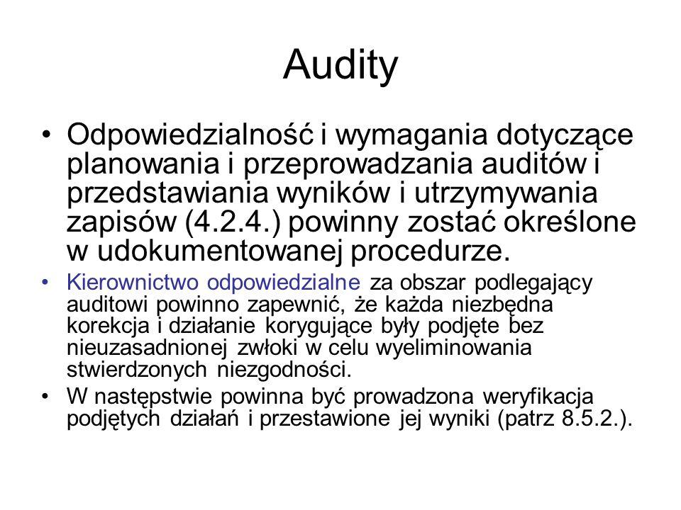 Audity Odpowiedzialność i wymagania dotyczące planowania i przeprowadzania auditów i przedstawiania wyników i utrzymywania zapisów (4.2.4.) powinny zo