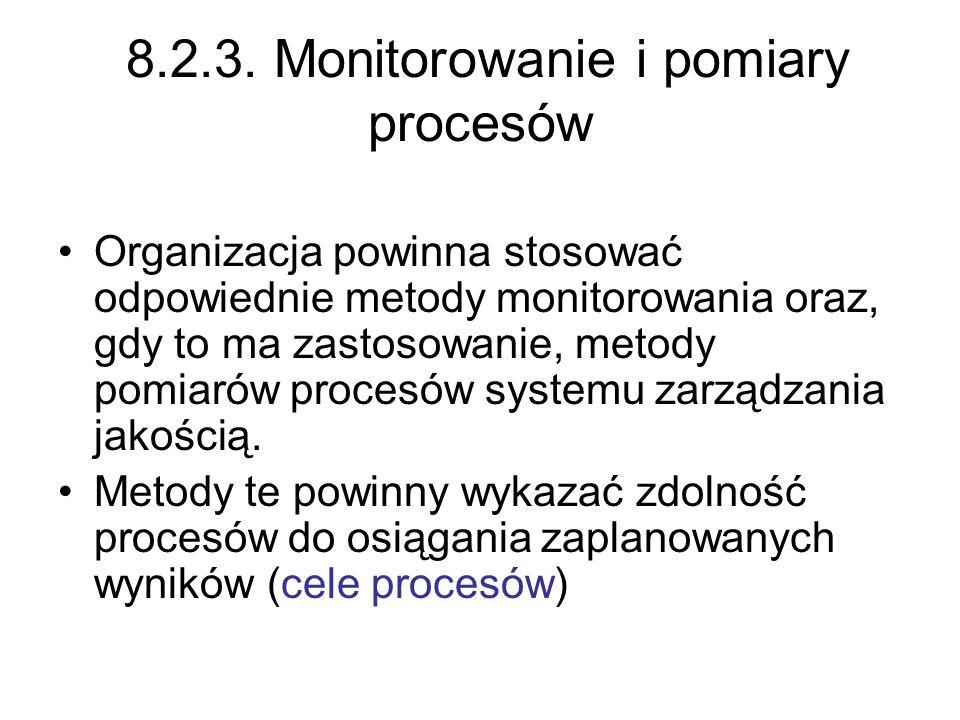 8.2.3. Monitorowanie i pomiary procesów Organizacja powinna stosować odpowiednie metody monitorowania oraz, gdy to ma zastosowanie, metody pomiarów pr