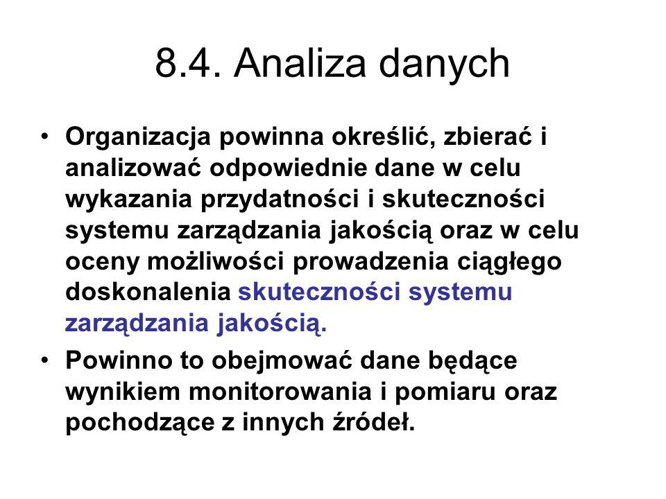 8.4. Analiza danych Organizacja powinna określić, zbierać i analizować odpowiednie dane w celu wykazania przydatności i skuteczności systemu zarządzan