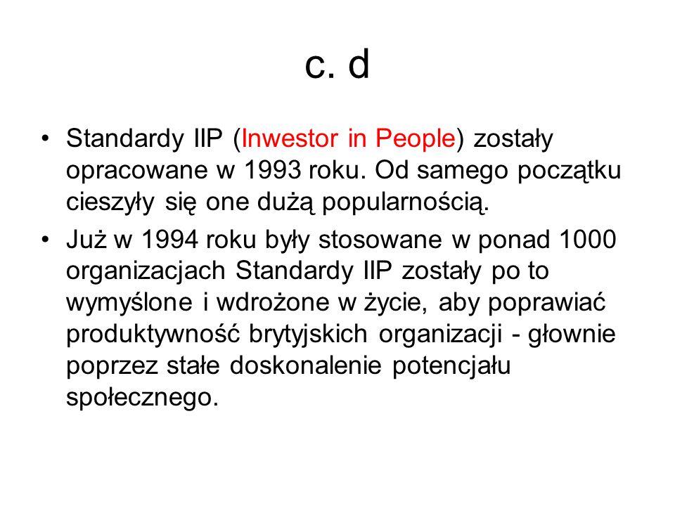 c. d Standardy IIP (Inwestor in People) zostały opracowane w 1993 roku. Od samego początku cieszyły się one dużą popularnością. Już w 1994 roku były s