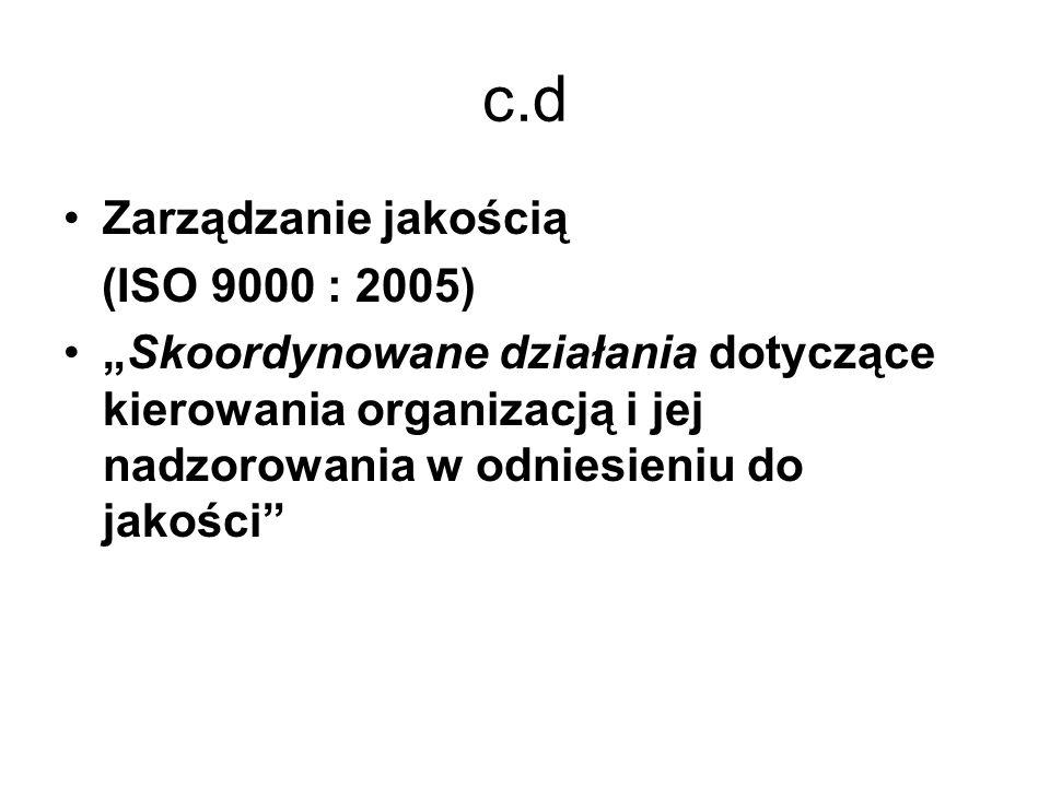 c.d Zarządzanie jakością (ISO 9000 : 2005) Skoordynowane działania dotyczące kierowania organizacją i jej nadzorowania w odniesieniu do jakości