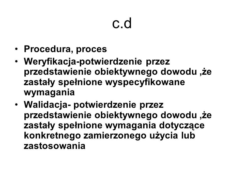 c.d Procedura, proces Weryfikacja-potwierdzenie przez przedstawienie obiektywnego dowodu,że zastały spełnione wyspecyfikowane wymagania Walidacja- pot