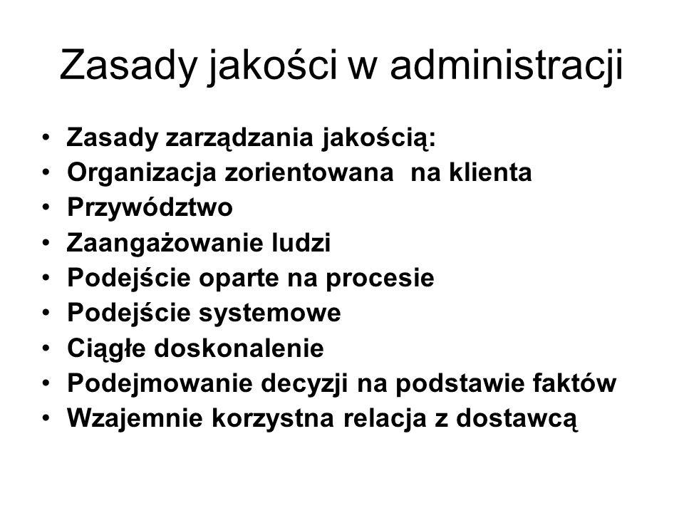 Zasady jakości w administracji Zasady zarządzania jakością: Organizacja zorientowana na klienta Przywództwo Zaangażowanie ludzi Podejście oparte na pr