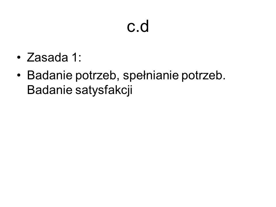 c.d Zasada 1: Badanie potrzeb, spełnianie potrzeb. Badanie satysfakcji