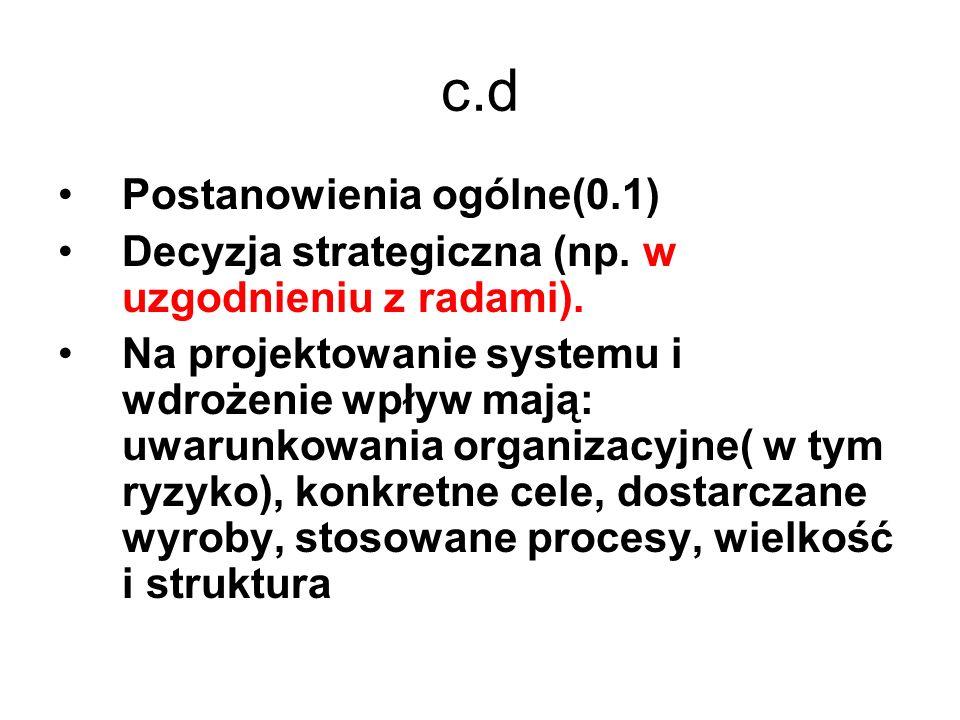 c.d Postanowienia ogólne(0.1) Decyzja strategiczna (np. w uzgodnieniu z radami). Na projektowanie systemu i wdrożenie wpływ mają: uwarunkowania organi