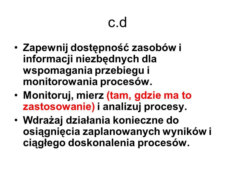 c.d Zapewnij dostępność zasobów i informacji niezbędnych dla wspomagania przebiegu i monitorowania procesów. Monitoruj, mierz (tam, gdzie ma to zastos