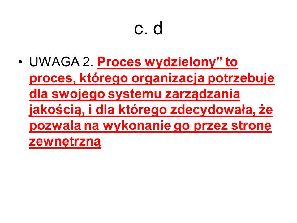 c. d UWAGA 2. Proces wydzielony to proces, którego organizacja potrzebuje dla swojego systemu zarządzania jakością, i dla którego zdecydowała, że pozw