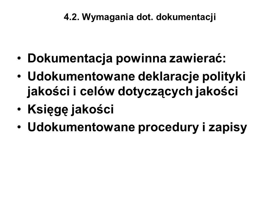 4.2. Wymagania dot. dokumentacji Dokumentacja powinna zawierać: Udokumentowane deklaracje polityki jakości i celów dotyczących jakości Księgę jakości