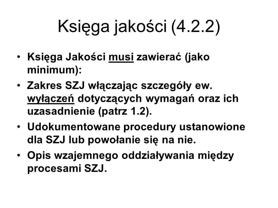 Księga jakości (4.2.2) Księga Jakości musi zawierać (jako minimum): Zakres SZJ włączając szczegóły ew. wyłączeń dotyczących wymagań oraz ich uzasadnie