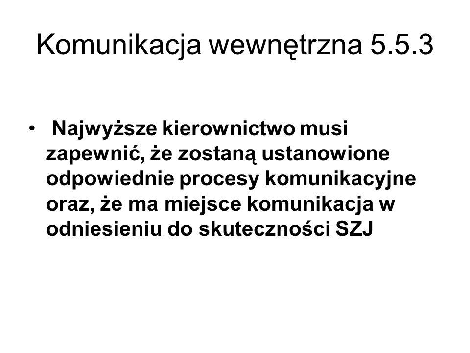 Komunikacja wewnętrzna 5.5.3 Najwyższe kierownictwo musi zapewnić, że zostaną ustanowione odpowiednie procesy komunikacyjne oraz, że ma miejsce komuni
