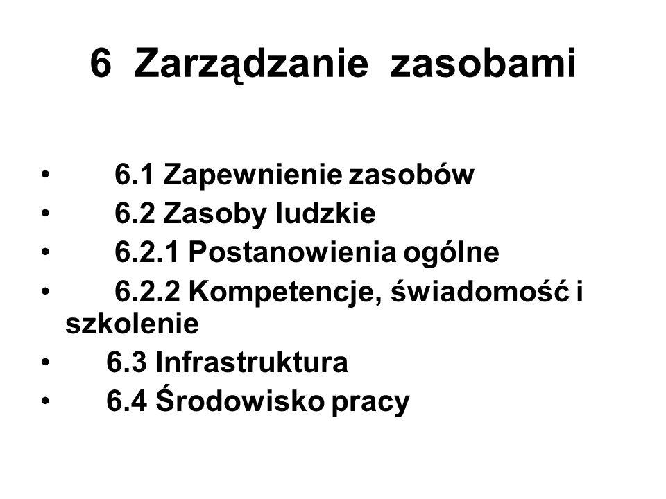 6 Zarządzanie zasobami 6.1 Zapewnienie zasobów 6.2 Zasoby ludzkie 6.2.1 Postanowienia ogólne 6.2.2 Kompetencje, świadomość i szkolenie 6.3 Infrastrukt