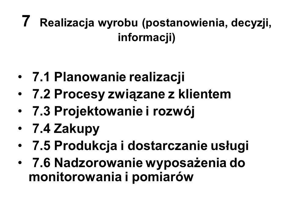 7 Realizacja wyrobu (postanowienia, decyzji, informacji) 7.1 Planowanie realizacji 7.2 Procesy związane z klientem 7.3 Projektowanie i rozwój 7.4 Zaku