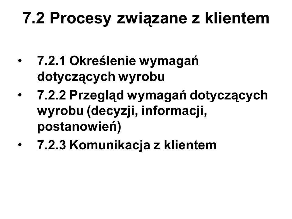 7.2 Procesy związane z klientem 7.2.1 Określenie wymagań dotyczących wyrobu 7.2.2 Przegląd wymagań dotyczących wyrobu (decyzji, informacji, postanowie