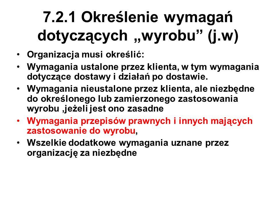7.2.1 Określenie wymagań dotyczących wyrobu (j.w) Organizacja musi określić: Wymagania ustalone przez klienta, w tym wymagania dotyczące dostawy i dzi
