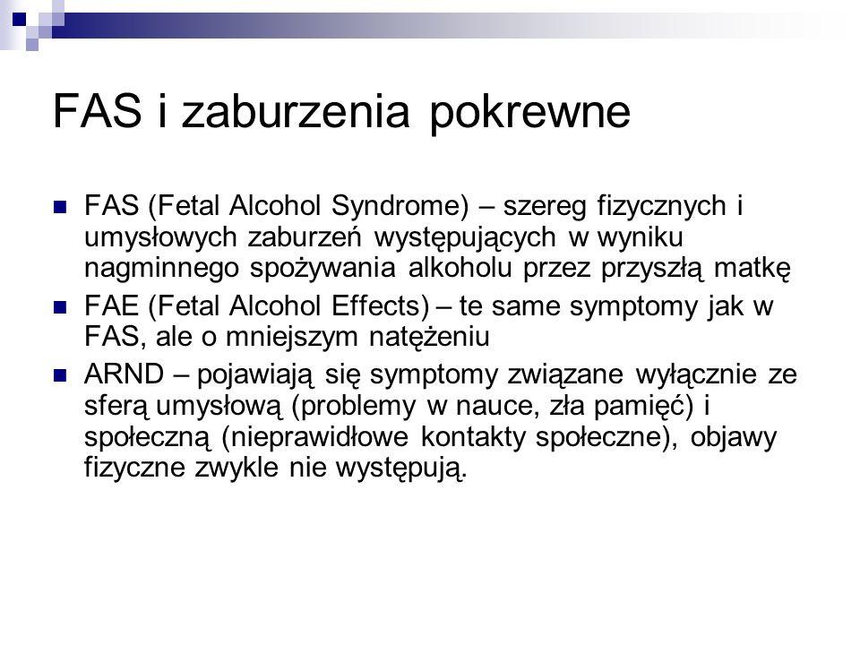 Skala zjawiska (wg danych PARPA) Co trzecia kobieta (33%) w wieku prokreacyjnym (18-40 lat) piła alkohol w czasie ciąży Ponad dwie trzecie Polaków (83%) spotkało się z informacją, że nawet najmniejsza ilość alkoholu spożyta przez kobietę w ciąży może stanowić zagrożenie dla prawidłowego rozwoju płodu Niemal jedna trzecia (32%) badanych Polaków spotkała się z opinią, iż kobieta w ciąży powinna spożywać regularnie niewielkie ilości czerwonego wina.