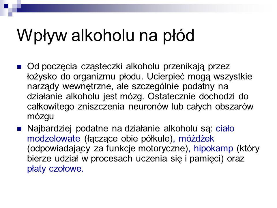Wpływ alkoholu na płód Od poczęcia cząsteczki alkoholu przenikają przez łożysko do organizmu płodu. Ucierpieć mogą wszystkie narządy wewnętrzne, ale s