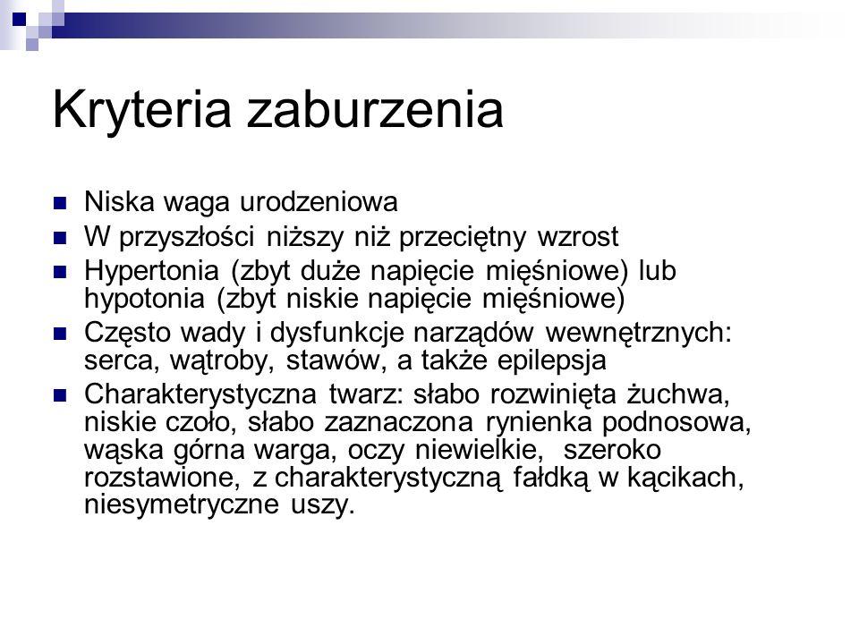 Kryteria zaburzenia Niska waga urodzeniowa W przyszłości niższy niż przeciętny wzrost Hypertonia (zbyt duże napięcie mięśniowe) lub hypotonia (zbyt ni