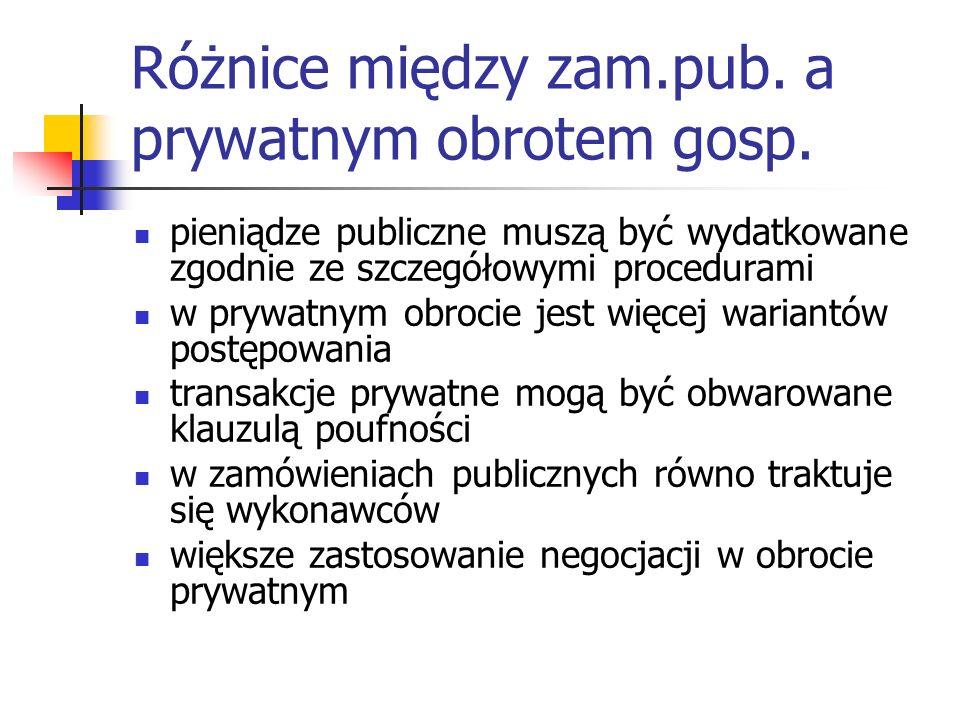 Różnice między zam.pub. a prywatnym obrotem gosp. pieniądze publiczne muszą być wydatkowane zgodnie ze szczegółowymi procedurami w prywatnym obrocie j