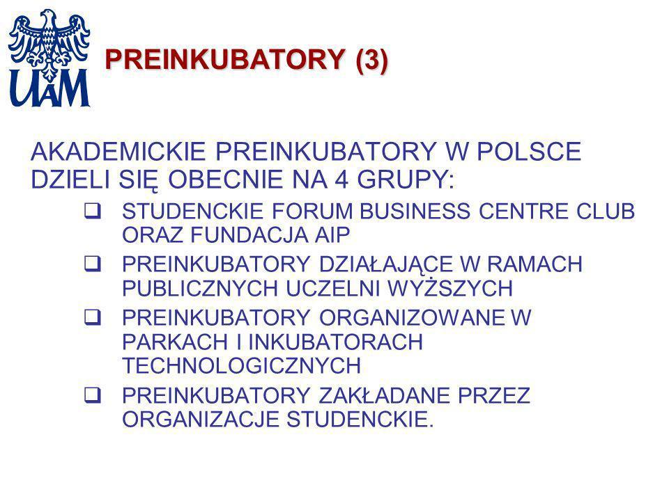 PREINKUBATORY (3) AKADEMICKIE PREINKUBATORY W POLSCE DZIELI SIĘ OBECNIE NA 4 GRUPY: STUDENCKIE FORUM BUSINESS CENTRE CLUB ORAZ FUNDACJA AIP PREINKUBAT