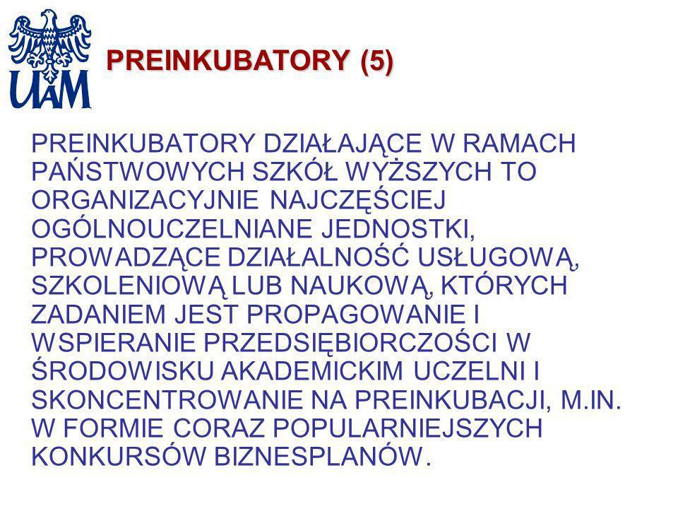 PREINKUBATORY (5) PREINKUBATORY DZIAŁAJĄCE W RAMACH PAŃSTWOWYCH SZKÓŁ WYŻSZYCH TO ORGANIZACYJNIE NAJCZĘŚCIEJ OGÓLNOUCZELNIANE JEDNOSTKI, PROWADZĄCE DZ