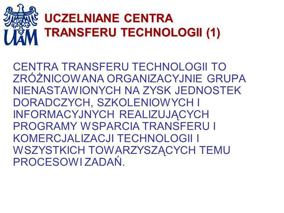 UCZELNIANE CENTRA TRANSFERU TECHNOLOGII (1) CENTRA TRANSFERU TECHNOLOGII TO ZRÓŻNICOWANA ORGANIZACYJNIE GRUPA NIENASTAWIONYCH NA ZYSK JEDNOSTEK DORADC