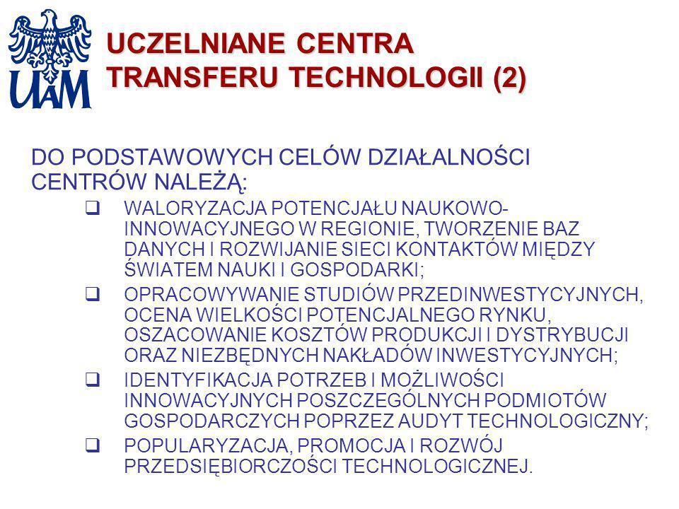 UCZELNIANE CENTRA TRANSFERU TECHNOLOGII (2) DO PODSTAWOWYCH CELÓW DZIAŁALNOŚCI CENTRÓW NALEŻĄ: WALORYZACJA POTENCJAŁU NAUKOWO- INNOWACYJNEGO W REGIONI