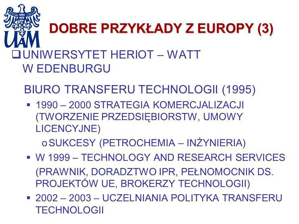 DOBRE PRZYKŁADY Z EUROPY (3) UNIWERSYTET HERIOT – WATT W EDENBURGU BIURO TRANSFERU TECHNOLOGII (1995) 1990 – 2000 STRATEGIA KOMERCJALIZACJI (TWORZENIE
