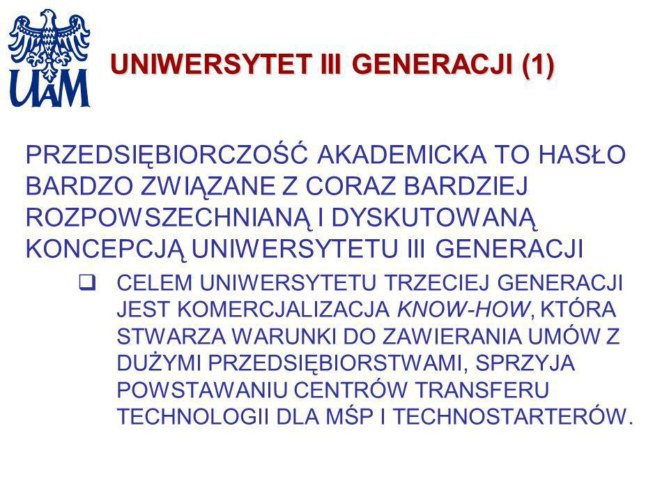 UNIWERSYTET III GENERACJI (1) PRZEDSIĘBIORCZOŚĆ AKADEMICKA TO HASŁO BARDZO ZWIĄZANE Z CORAZ BARDZIEJ ROZPOWSZECHNIANĄ I DYSKUTOWANĄ KONCEPCJĄ UNIWERSY