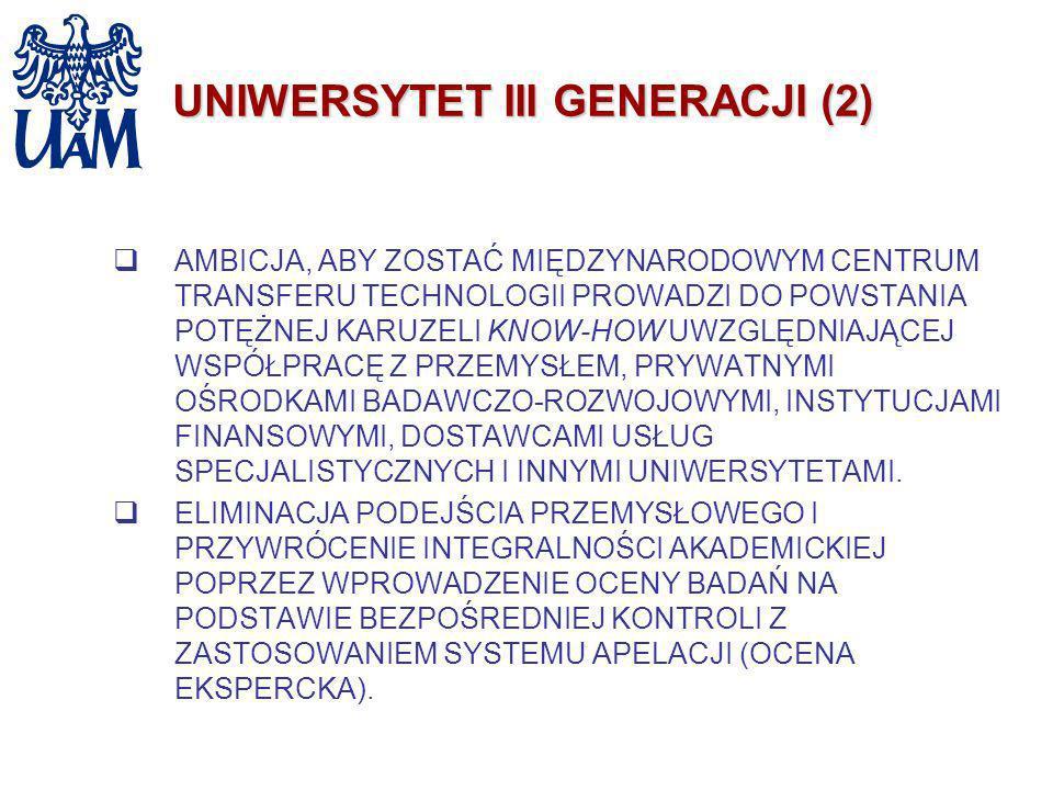 UNIWERSYTET III GENERACJI (2) AMBICJA, ABY ZOSTAĆ MIĘDZYNARODOWYM CENTRUM TRANSFERU TECHNOLOGII PROWADZI DO POWSTANIA POTĘŻNEJ KARUZELI KNOW-HOW UWZGL