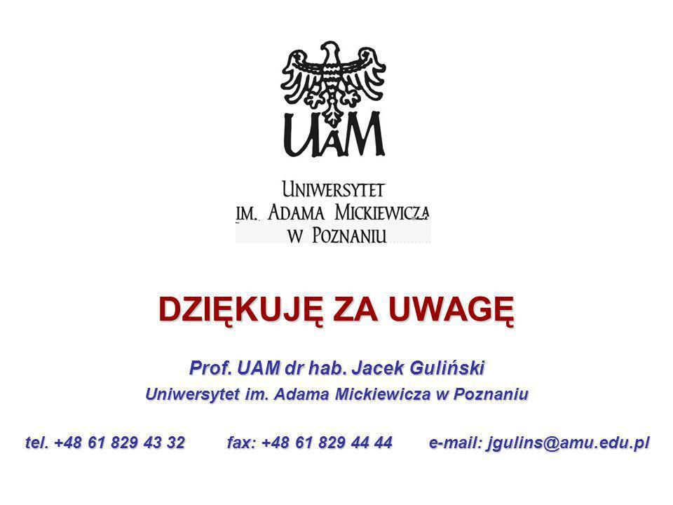 DZIĘKUJĘ ZA UWAGĘ Prof. UAM dr hab. Jacek Guliński Uniwersytet im. Adama Mickiewicza w Poznaniu tel. +48 61 829 43 32fax: +48 61 829 44 44e-mail: jgul