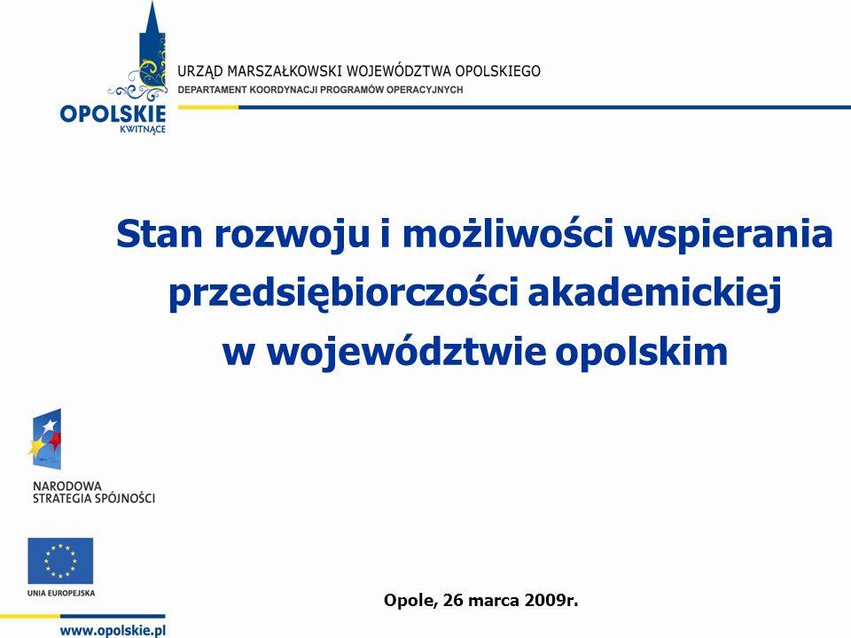 Stan rozwoju i możliwości wspierania przedsiębiorczości akademickiej w województwie opolskim Opole, 26 marca 2009r.