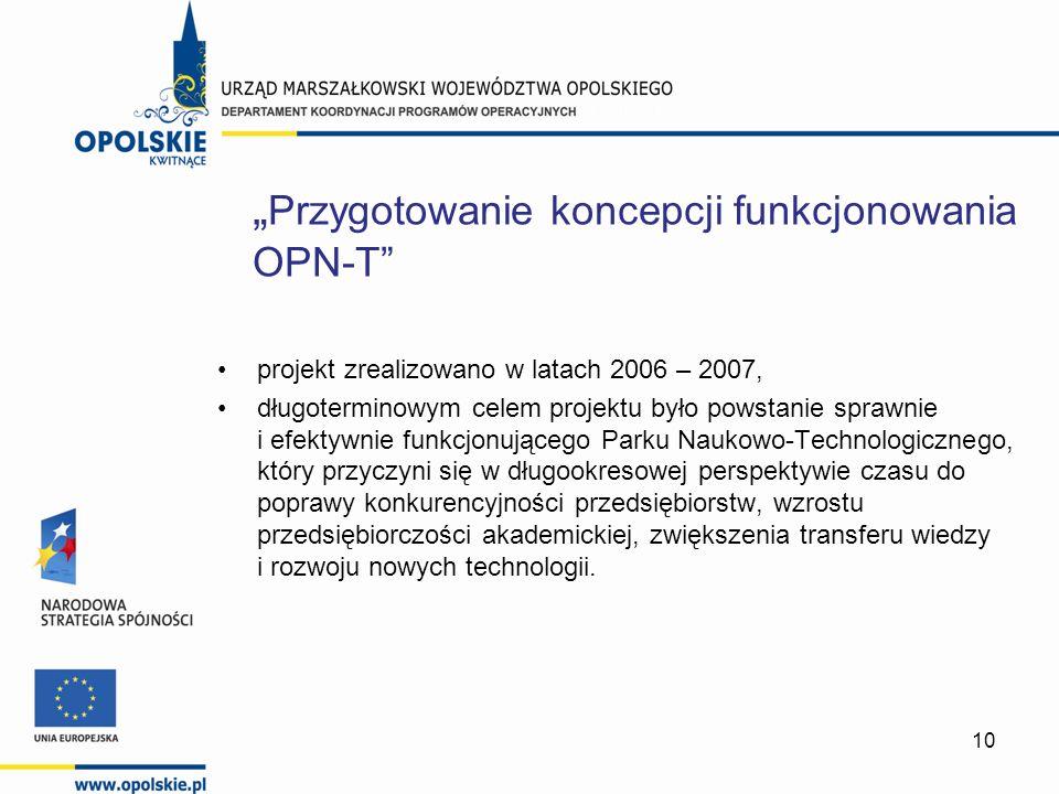 10 projekt zrealizowano w latach 2006 – 2007, długoterminowym celem projektu było powstanie sprawnie i efektywnie funkcjonującego Parku Naukowo-Techno