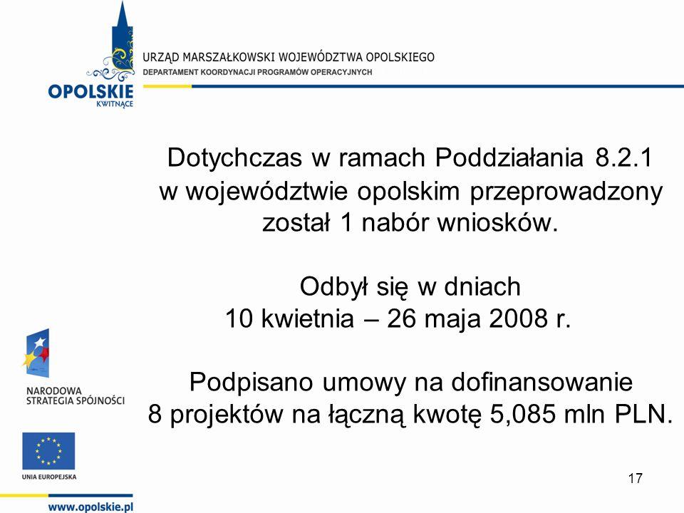 17 Dotychczas w ramach Poddziałania 8.2.1 w województwie opolskim przeprowadzony został 1 nabór wniosków. Odbył się w dniach 10 kwietnia – 26 maja 200