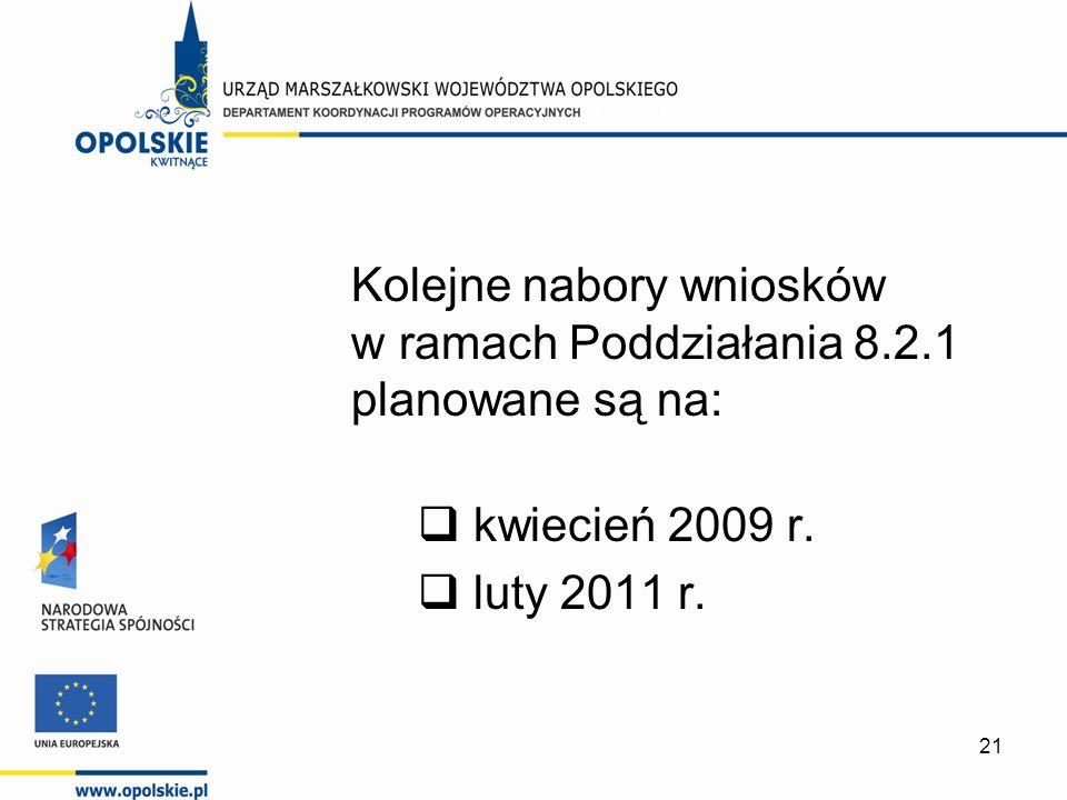 21 Kolejne nabory wniosków w ramach Poddziałania 8.2.1 planowane są na: kwiecień 2009 r. luty 2011 r.