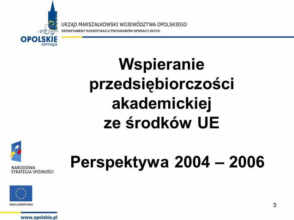 3 Wspieranie przedsiębiorczości akademickiej ze środków UE Perspektywa 2004 – 2006