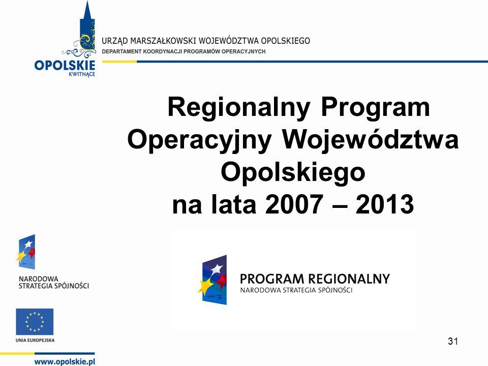 31 Regionalny Program Operacyjny Województwa Opolskiego na lata 2007 – 2013