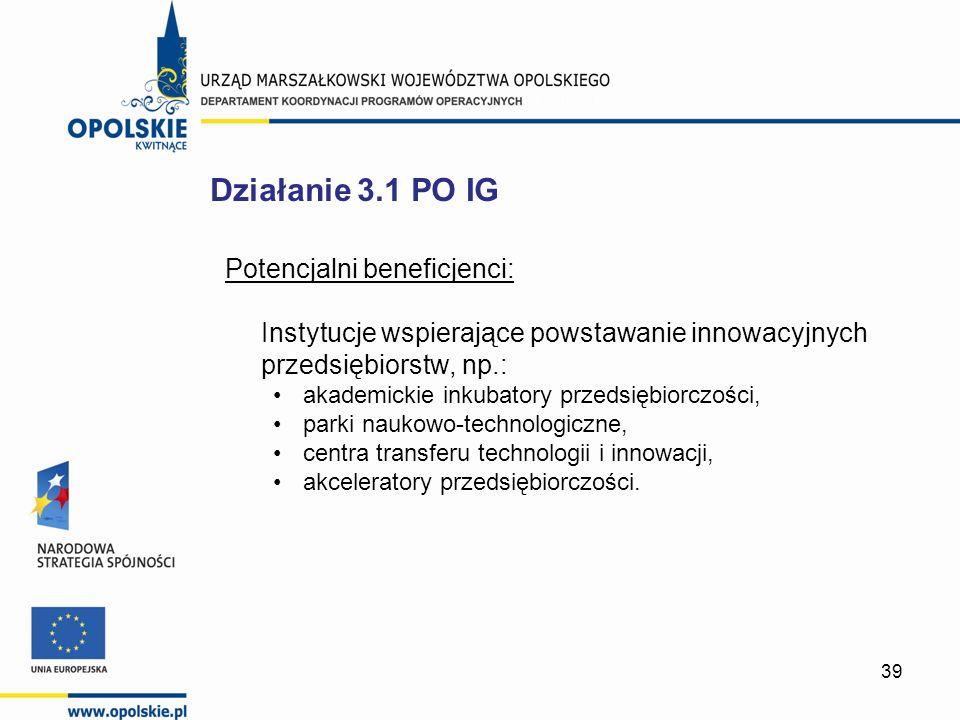 39 Potencjalni beneficjenci: Instytucje wspierające powstawanie innowacyjnych przedsiębiorstw, np.: akademickie inkubatory przedsiębiorczości, parki n