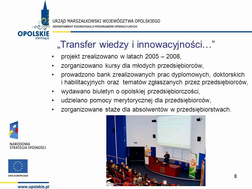 29 Tytuł projektu: Wsparcie na starcie Beneficjent: Politechnika Opolska Wartość projektu: 1.711.925,00 PLN Działanie 6.2 PO KL
