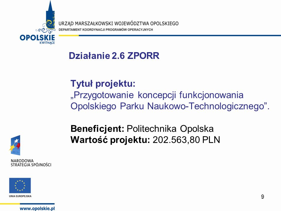 9 Tytuł projektu: Przygotowanie koncepcji funkcjonowania Opolskiego Parku Naukowo-Technologicznego. Beneficjent: Politechnika Opolska Wartość projektu