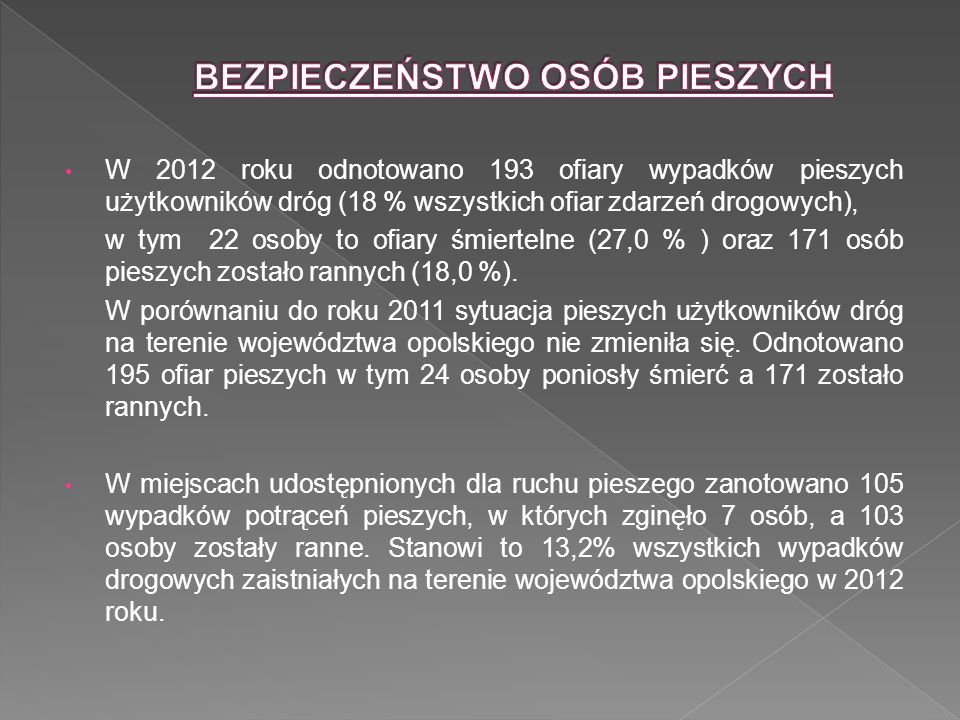 liczba wypadków % wypadków liczba zabitych % zabitych liczba Rannych % Rannych chodnik, droga dla pieszych 66%00%66% przejście dla pieszych 5451%229%5553% skrzyżowanie 4543%571%4241% Dane SEWIK na dzień 17.01.2013 r.