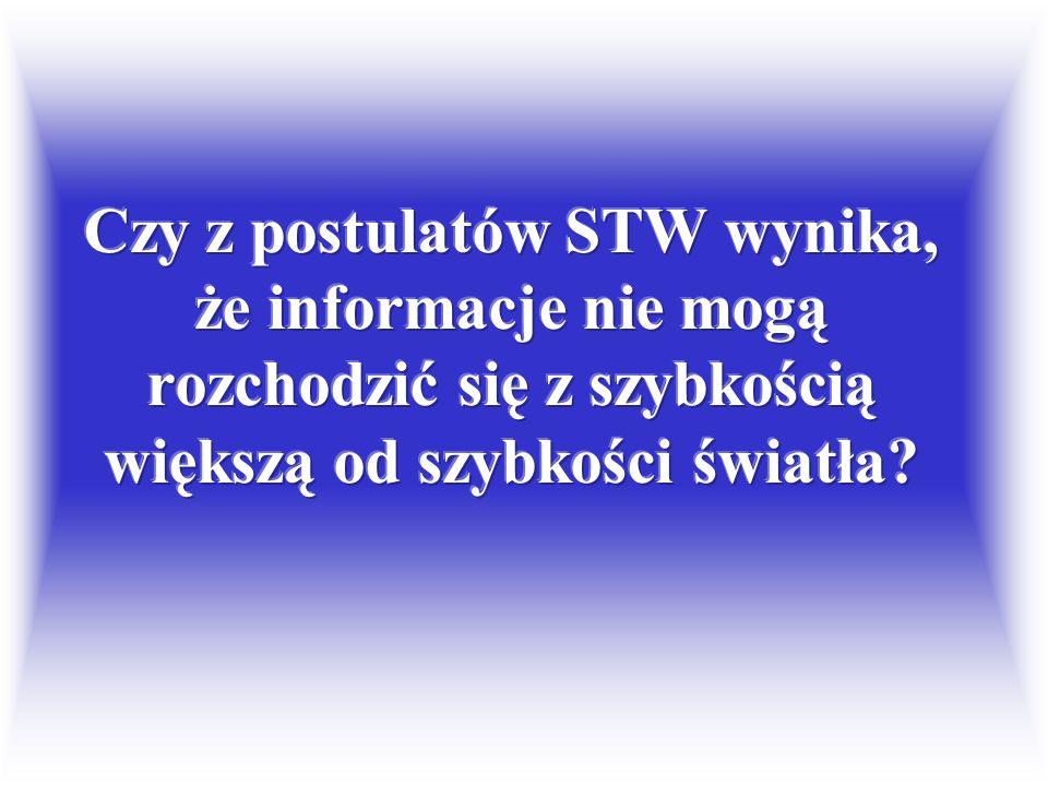 Prawa fizyki i prędkość światła (postulaty STW) Interwał czasoprzestrzenny s Czas własny τ Masa m (tzw. spoczynkowa)